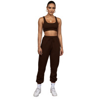 Solid Color Double-layer Sports Vest and Trousers