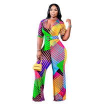 Casual V Neck Printed Plus Size Jumpsuit
