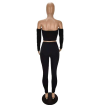 Sexy Off Shoulder Tube Top Trousers Two-piece Outfits