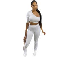 White Wrinkled Hollow Irregular Sports Single Shoulder Two Piece Women Set