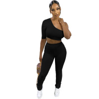 Black Wrinkled Hollow Irregular Sports Single Shoulder Two Piece Women Set