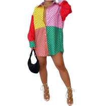 Casual Printed Color Block Shirt Dress