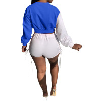 Autumn Color Matching Long Sleeve Eyelet Lace-up Top and Shorts