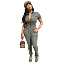 Casual Turn-down Neck Workwear Jumpsuit with Buttons + six pockets