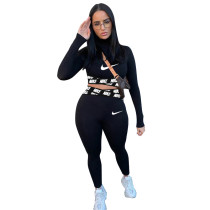 Casual Black Positioning Printing Letter Sportswear Trousers Two Piece Set