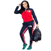 Casual Cotton Embroidered Sports Stitching Two-piece Set