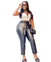 Solid Color Black Zipper Pockets Leather Pants with Belt