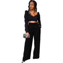 Solid Color Pleated Top Trousers Two Piece Women Clothing with Pockets