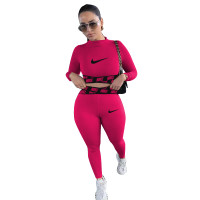 Casual Rose Positioning Printing Letter Sportswear Trousers Two Piece Set