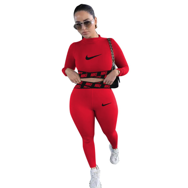 Casual Red Positioning Printing Letter Sportswear Trousers Two Piece Set