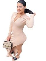 Solid Color Knit V Neck Split Maxi Dress