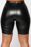 Solid Color Black Leather Shorts Pants