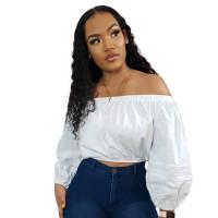Solid Color Lace Sleeve Off Shoulder Top