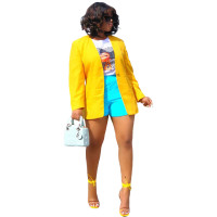 Autumn Solid Color Cardigan Slit Women Coat