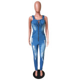 Zip-up Lace-up Holes sleeveless Denim Women's Ripped Jumpsuit