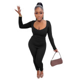 Solid Color Black V Neck Casual Two Piece Outfits