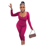 Solid Color Rose V Neck Casual Two Piece Outfits