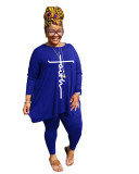 Round Neck Solid Color Plus Size Printed Casual Set