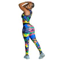 Autumn Camouflage Vest Print Sleeveless Yoga Women's Set