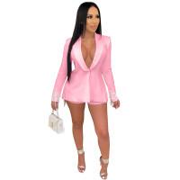 Pink Women's Long Sleeves Back Slit Tassels Solid Clubwear Bodycon Blazer Jacket Business Suit Set