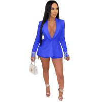 Blue Women's Long Sleeves Back Slit Tassels Solid Clubwear Bodycon Blazer Jacket Business Suit Set