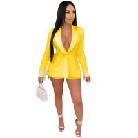 Yellow Women's Long Sleeves Back Slit Tassels Solid Clubwear Bodycon Blazer Jacket Business Suit Set