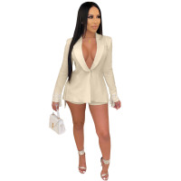 Apricot Women's Long Sleeves Back Slit Tassels Solid Clubwear Bodycon Blazer Jacket Business Suit Set