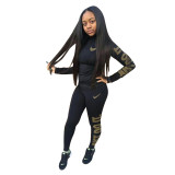 Autumn Winter Black Cotton Printed Sports Two Piece Outfits