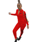 Autumn Winter Red Cotton Printed Sports Two Piece Outfits