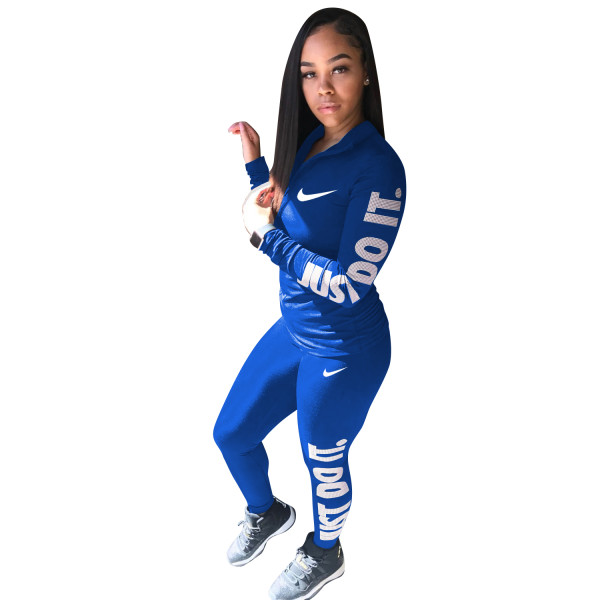 Autumn Winter Blue Cotton Printed Sports Two Piece Outfits