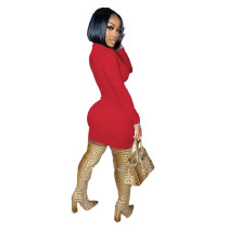 Solid Color Long Sleeve Hollow Out Mini Dress
