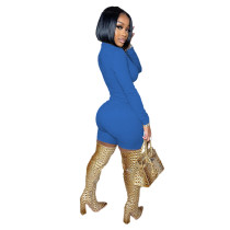 Solid Color Long Sleeve Hollow Out Short Jumpsuits Playsuits
