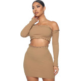 Solid Color Tight Off Shoulder Crop Top Two-Piece Skirt Set