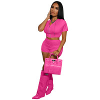 Casual Rose Zipper Crop Top 2 Piece Set with Hooded