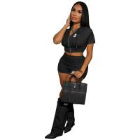 Summer Black Nike Clothes Sexy Zipper Hooded 2 Piece Set Women
