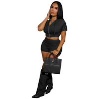 Casual Black Zipper Crop Top 2 Piece Set with Hooded