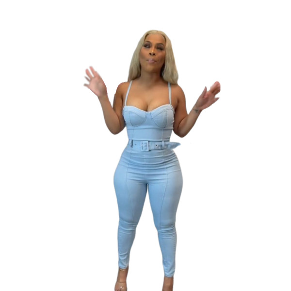 Micro Elasticity Straps Sexy Denim Jumpsuit with Belted