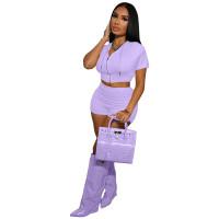 Casual Purple Zipper Crop Top 2 Piece Set with Hooded