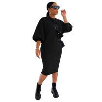 Solid Color 3/4 Sleeve Loose Midi Dress