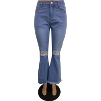 Flared Ripped Wide Leg Jeans