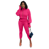 Solid Color Rose High Neck Zipper Lantern Sleeve Two Piece Outfits