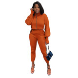 Solid Color Orange High Neck Zipper Lantern Sleeve Two Piece Outfits