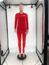 Autumn Winter Red Sports Embroidery Two Piece Fall 2021 Women Clothes