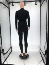Autumn Winter Black Sports Embroidery Two Piece Fall 2021 Women Clothes