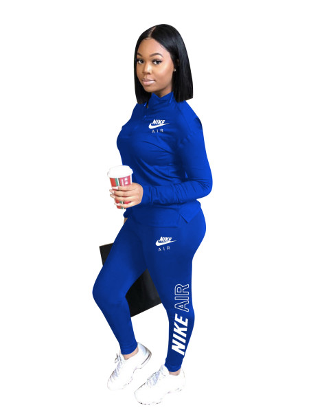 Autumn Winter Blue Sports Embroidery Two Piece Fall 2021 Women Clothes