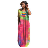 Casual Tie-dye Printed V-neck Maxi Dresses Women
