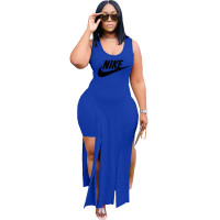 Solid Color Blue Printed Two Piece Sets Sleeveless Slit Long Dress and Shorts