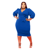 Blue Fat Lady Fall V-neck Puff Sleeve Mid Dress with Belt