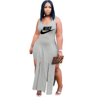 Solid Color Grey Printed Two Piece Sets Sleeveless Slit Long Dress and Shorts