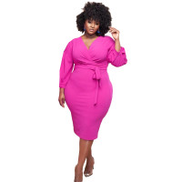 Rose Fat Lady Fall V-neck Puff Sleeve Mid Dress with Belt